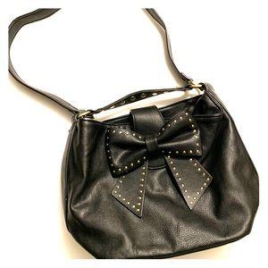 Betsey Johnson vegan leather bow purse w/studs
